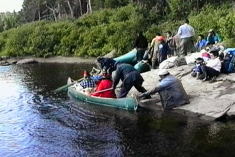 getting into the canoe