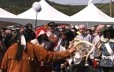 Theatrical representation of Champlain's first treaty with the Innu