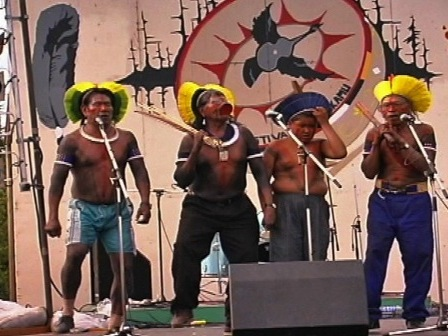 A group af Kayapo onstage at the Mani-utenam music festival
