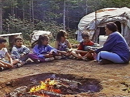 A group of young Innu are initiated into the sweat lodge ceremony